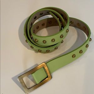 NWT - Ada brand leather stud belt in lime leather